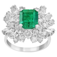 2.5 Carat Emerald Cut Colombian Emerald and Diamond 18 Karat Gold Ring Estate