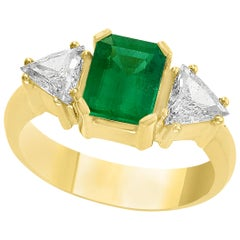 AGL Certified 2 Carat Emerald Cut Colombian Emerald and Diamond Ring 18K Gold