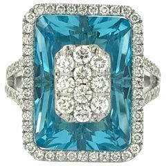 Diamonds Inlaid Into Blue Topaz Emerald Cut Ring