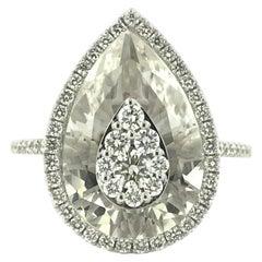 Diamonds Inlaid Into White Quartz Pear Shape Ring