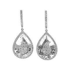 Diamonds Inlaid Into White Quartz Pear Shape Earrings