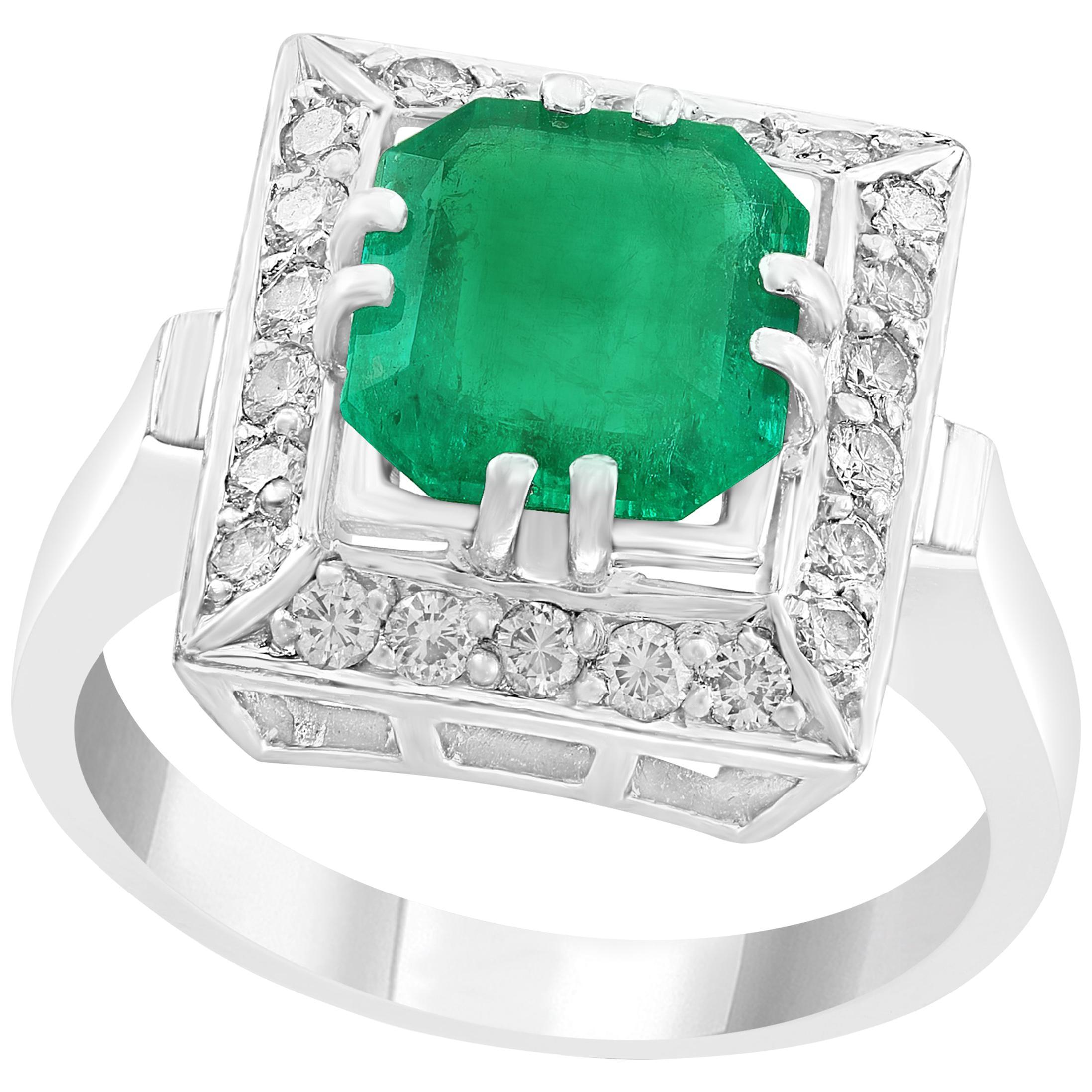 3 Carat Emerald Cut Colombian Emerald and Diamond 18 Karat Gold Ring Estate