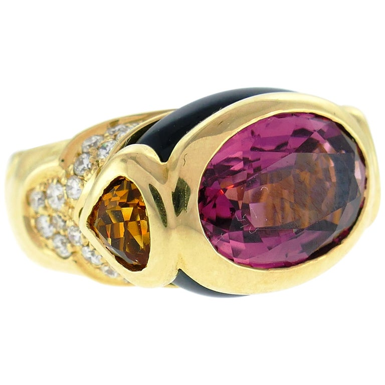 Marina B Yellow Gold Ring with Tourmaline Citrine and Diamond 1980s For Sale