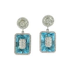 Diamonds Inlaid Into White Quartz and Emerald Cut Blue Topaz Earrings