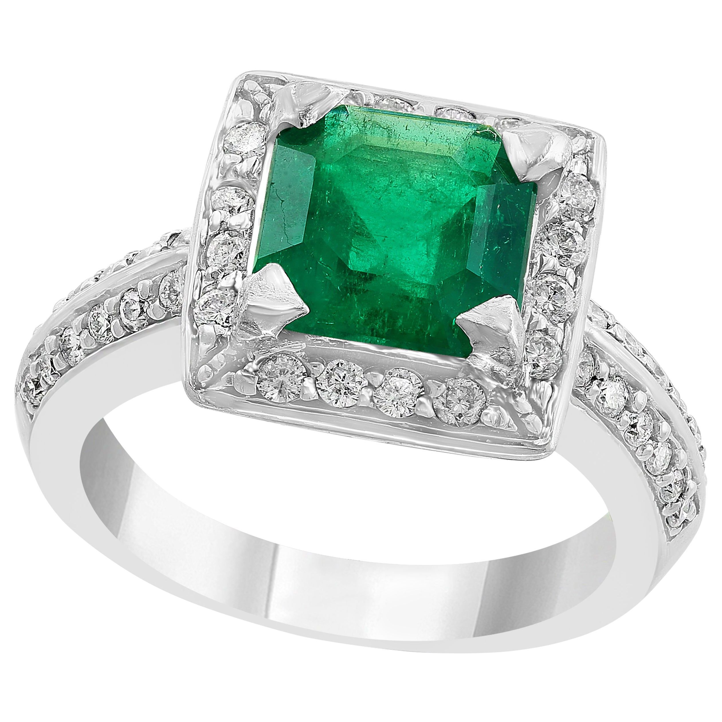 2.8 Carat Emerald Cut Colombian Emerald and Diamond Ring Estate