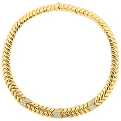 Bvlgari Spiga Diamond Gold Necklace