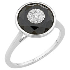 Diamonds Inlaid into Special Cut Onxy Ring