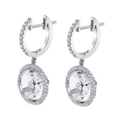 White Quartz and Diamond Earrings