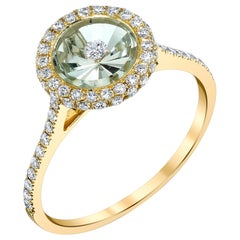 Green Amethyst and Diamond Cocktail Ring in Yellow Gold