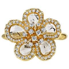Flat Diamond Flower Ring in Yellow Gold