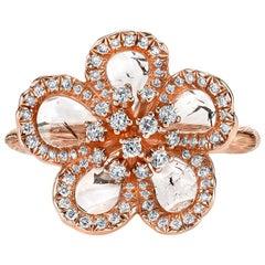 Flat Diamond Flower Ring in Rose Gold