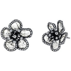 Flat Diamond with Brilliant Cut Diamond Flower Studs