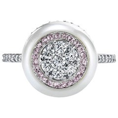 South Sea Pearl With Diamond and Pink Sapphire Inlay