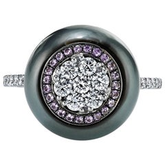 Tahitian Pearl Ring with a Diamond and Amethyst Inlay