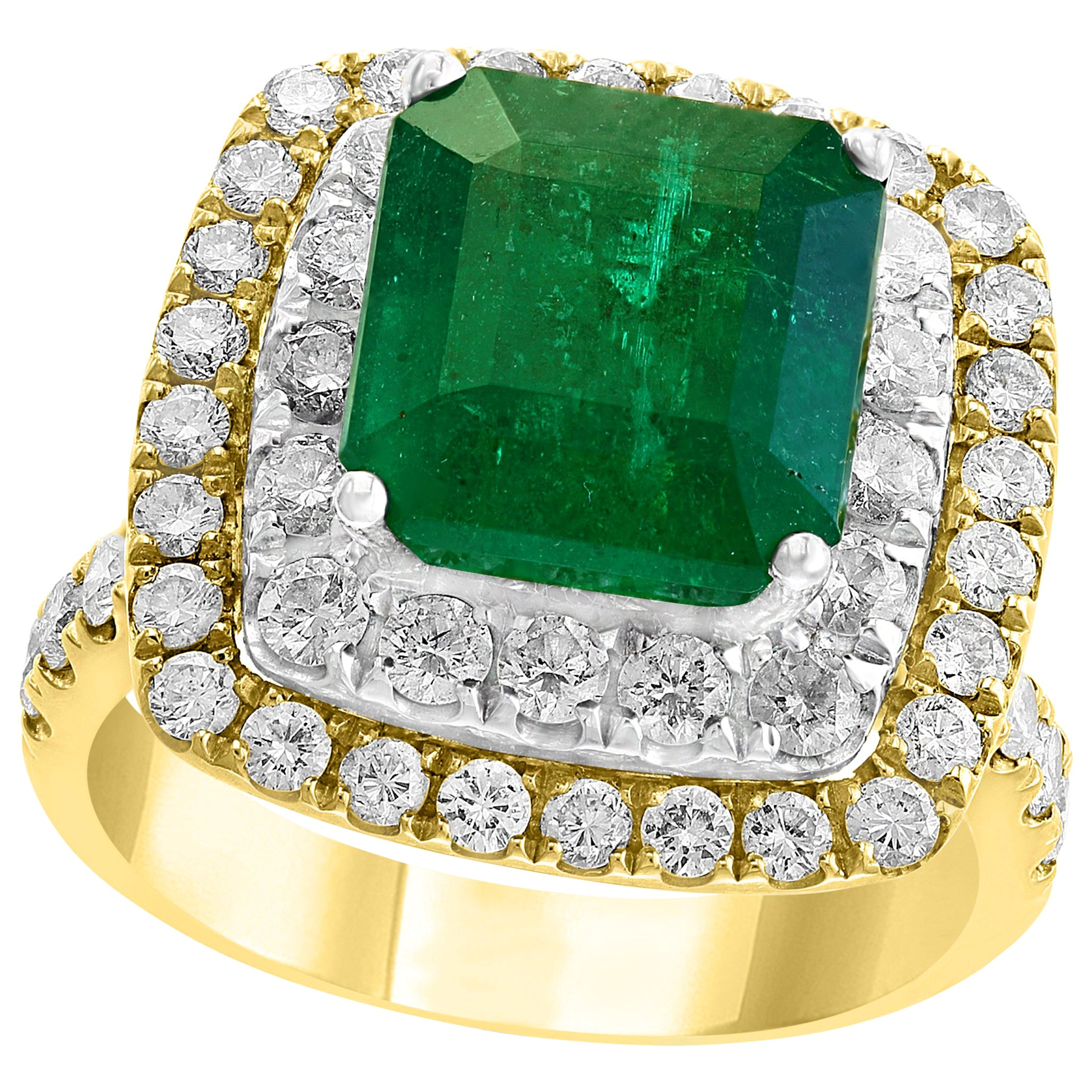 4.5 Carat Emerald Cut Colombian Emerald and Diamond Two-Tone 18 Karat Gold Ring