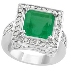 4 Carat Emerald Cut Colombian Emerald and Diamond Ring 14 Karat Gold Estate