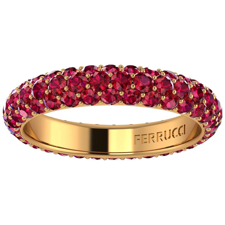 2 Carat Ruby Pave Eternity Ring in 18 Karat Yellow Gold For Sale