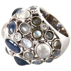 Diamonds Star Sapphire Opal Labradorite 18 Karat White Gold Dome Ring