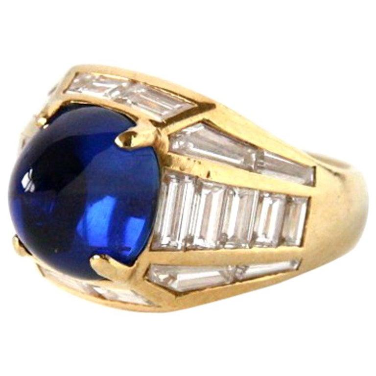 Blue Sapphire 18 Karat Gold Diamond Baguette Pinkie Ring For Sale