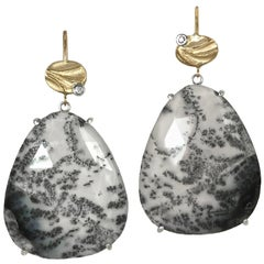 Large Black and White Dendritic Opal Earrings made from 14K Yellow Gold, Silver