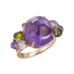 Daria de Koning Amethyst, Tourmaline, Aquamarine Cocktail Ring