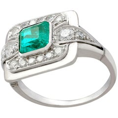 Emerald and Diamond Platinum Dress Ring