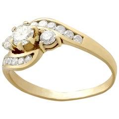 Vintage 1980s Diamond Yellow Gold Twist Ring