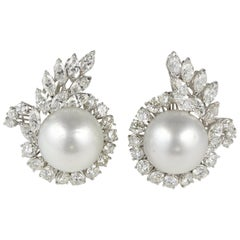 Exceptional circa 1950 6.50 Carat Diamond South Sea Pearl Earrings