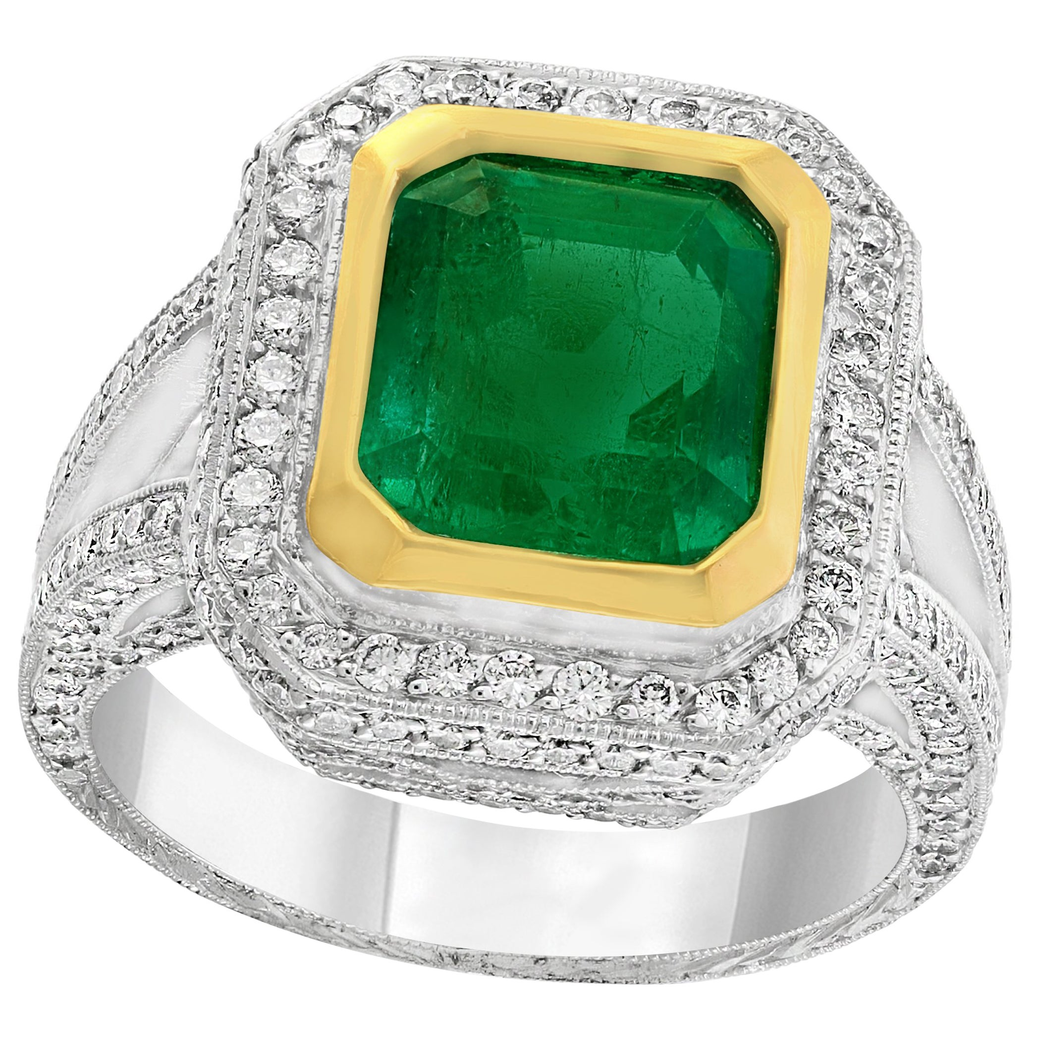 3.8 Carat Emerald Cut Colombian Emerald and Diamond Ring Platinum, Two-Tone