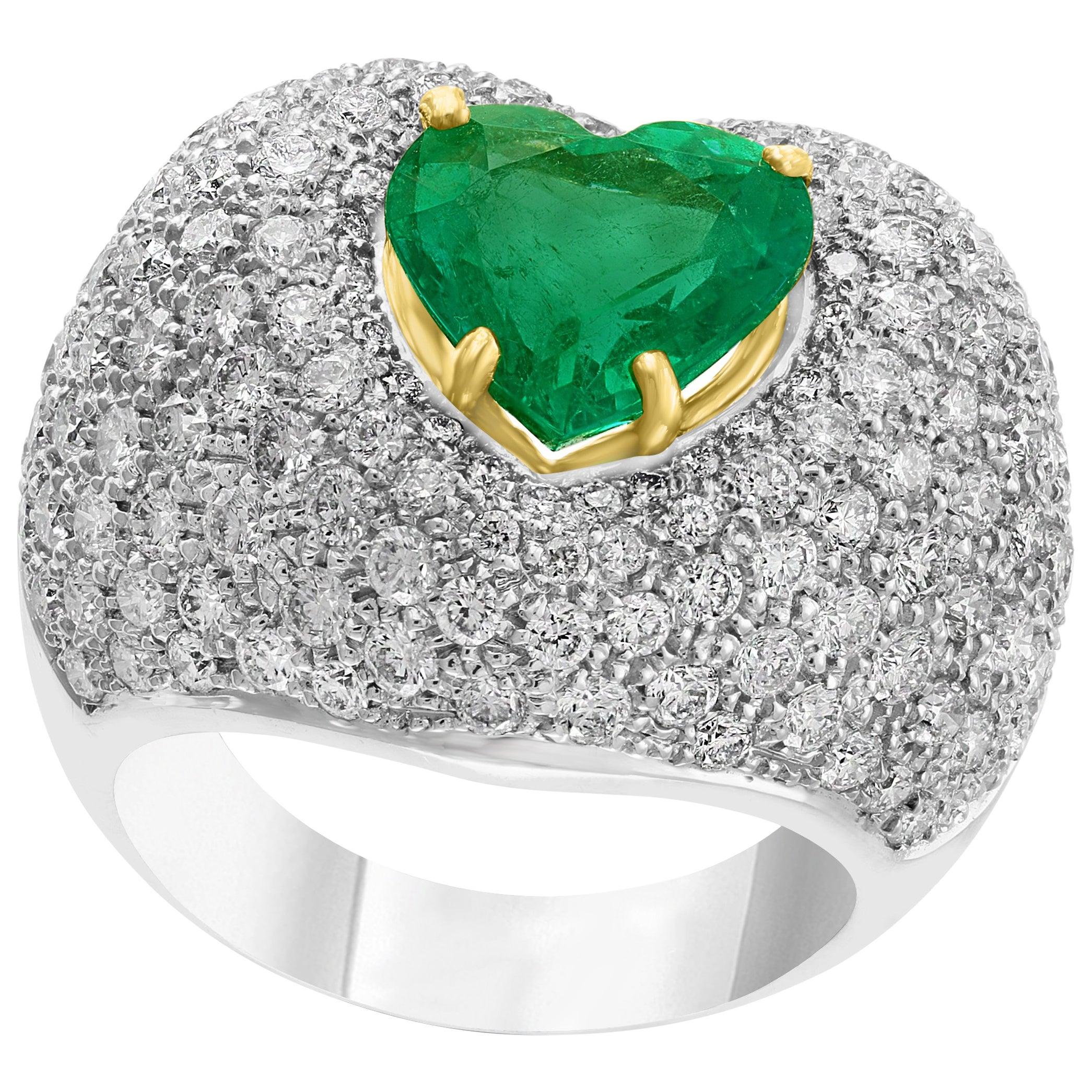 3.5 Carat Heart Shape Colombian Emerald and Diamond 18 Karat Gold Ring Estate