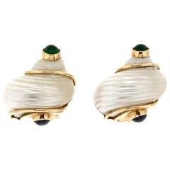 Shell 14 Karat Yellow Gold Sapphires and Emerald Seaman Schepps Clip-On Earrings