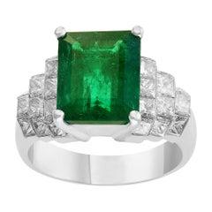 5 Carat Emerald Cut Emerald and Diamond Ring Platinum, Estate