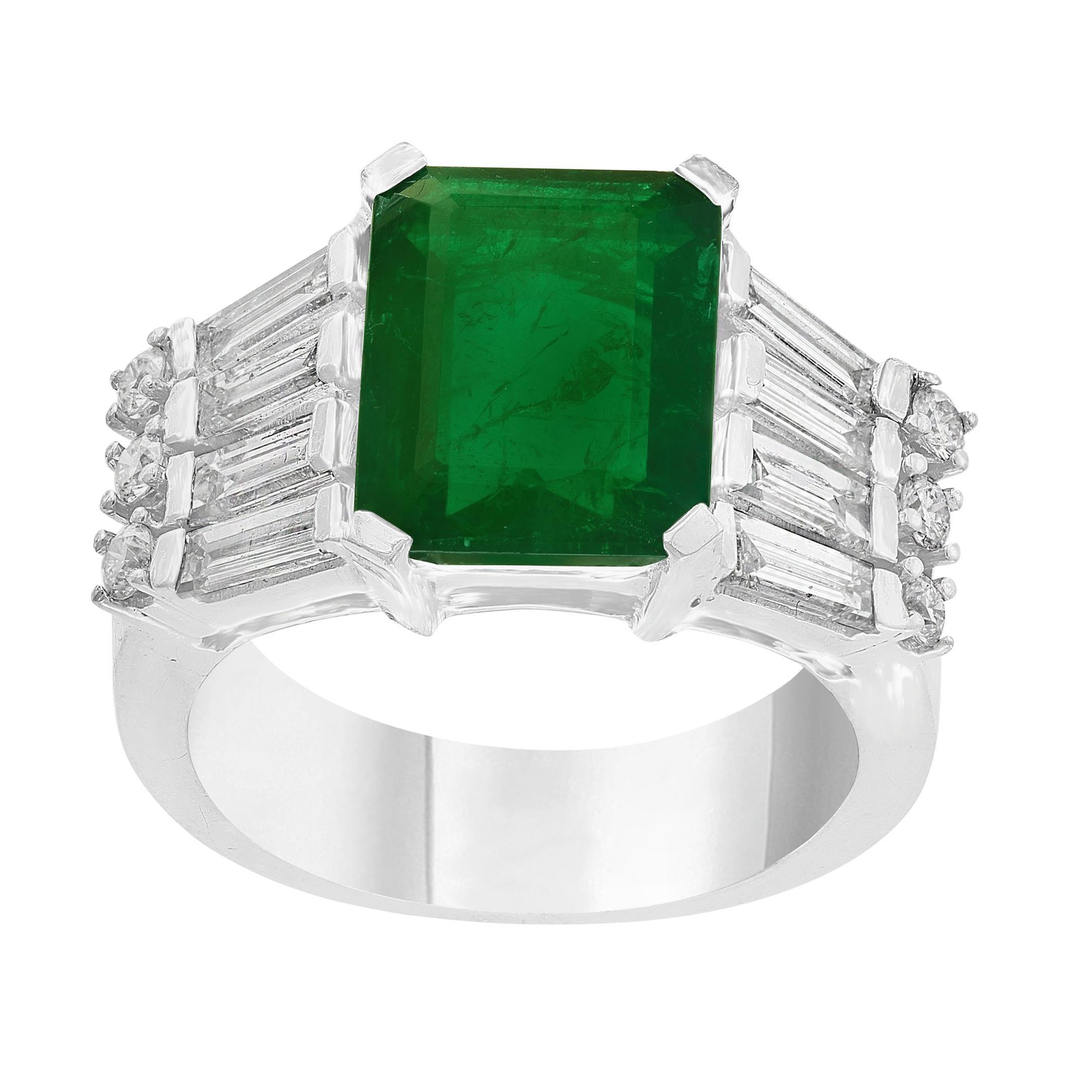 5.5 Carat Emerald Cut Emerald and Diamond Ring 18 Karat Gold Ring
