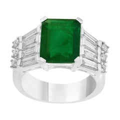 5.5 Carat Emerald Cut Emerald and Diamond Ring 18 Karat Gold Ring