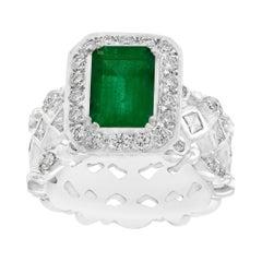 2.0 Carat Emerald Cut Colombian Emerald and Diamond Designer Doris Panos's Ring