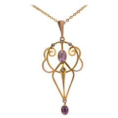 Antique Amethyst Pearl Pendant Necklace, circa 1910