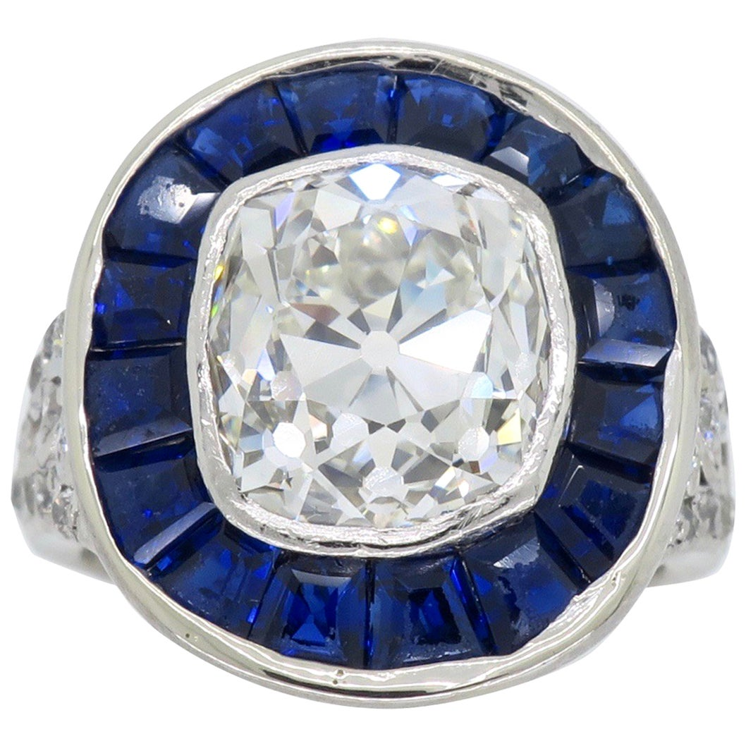 Art Deco Style Diamond and Blue Sapphire Ring in Platinum