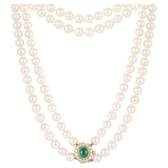 Multi-Strand Pearl Necklace with Columbian Emerald and Diamonds