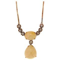 Australian Opal 14 Karat Yellow Gold Diamonds Pendant Necklace