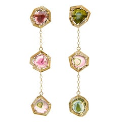 18ct Yellow Gold, Watermelon Tourmaline and Diamond Earrings