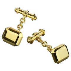 18 Carat Yellow Gold Vermeil Geometric Cufflinks