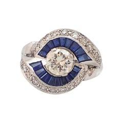 Round Diamond, Sapphire Halo Fancy Ring in 14 Karat White Gold
