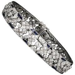 French Art Deco Platinum Diamond and Sapphire Bracelet, circa 1920s
