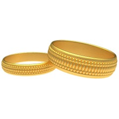18 Karat Yellow Gold Matte Wedding Band Bridal Set