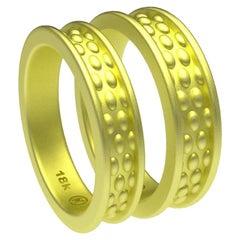 18 Karat Green Wedding Ring Bridal Set