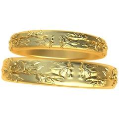 18 Karat Yellow Gold Wedding Rings Bridal Set