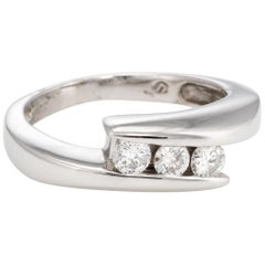 Estate Three-Stone Diamond Ring 14 Karat White Gold Wedding Band Fine Jewelry