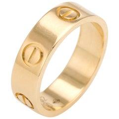 Estate Cartier Love Ring 18 Karat Yellow Gold Fine Designer Jewelry