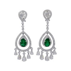 6.5 Carat Colombian Pear Shape Emerald Diamond Hanging Earrings 18 Karat Gold