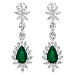 15 Carat Pear Shape Emerald Diamond Hanging/ Earrings 18 Karat White Gold
